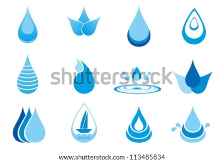Abstract symbols  of a drop water. Vector. EPS-10 (non transparent elements)