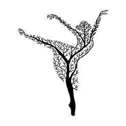 Abstract tree with silhouette ballerina.
