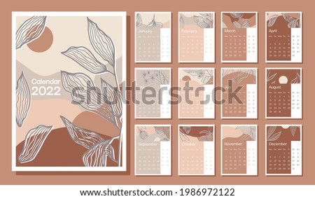 2022 abstract vector сalendar design in A4 format, week starts on Monday,  page template. Monthly Wall Calendar 2022. Set of 12 months. Vector illustration Foto stock ©