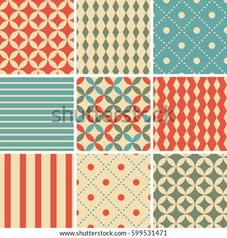 8 abstract vintage geometric