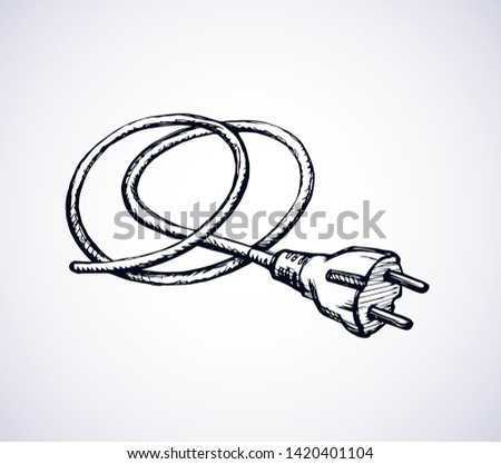 2 ac portable plastic wattage hardware set on white wall backdrop. Black outline hand drawn network rosette app off logo pictogram in modern art doodle style pen on paper space for text. Close up view
