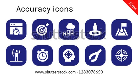 accuracy icon set. 10 filled accuracy icons. Simple modern icons about  - Chronometer, Target, Goal, Archery, Stopwatch, Tweezers