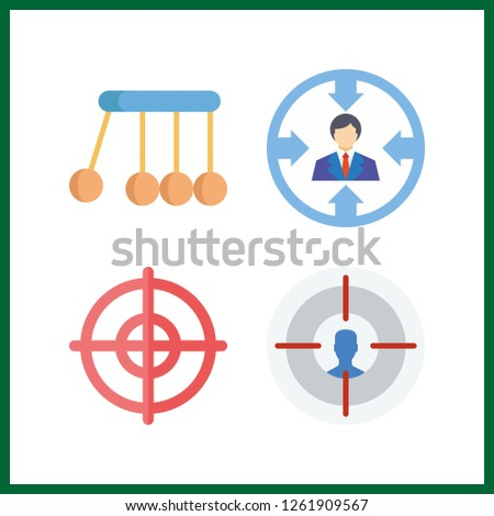 4 accuracy icon. Vector illustration accuracy set. newtons cradle and target icons for accuracy works