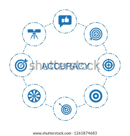 8 accuracy icons. Trendy accuracy icons white background. Included filled icons such as thumb up, target, level ruler, dart. accuracy icon for web and mobile.