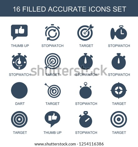 16 accurate icons. Trendy accurate icons white background. Included filled icons such as thumb up, stopwatch, target, dart. accurate icon for web and mobile.