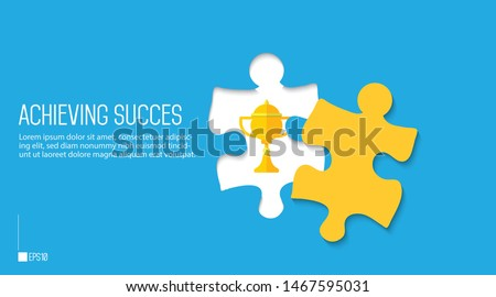 Achieving success Design. Flat design of trophy hidden inside puzzle.