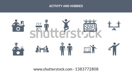 10 activity and hobbies vector icons such as acting, aquarium, arrest, baccarat, baking contains balancing, ball pit, ballerina, barbeque, bead. activity and hobbies icons