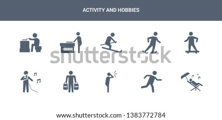 10 activity and hobbies vector icons such as resting, running, screaming, shopping, singing contains skateboarding, skating, skiing, sudoku, wood carving. activity and hobbies icons