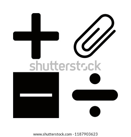 4 addition icons with substract and attachment in this set