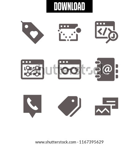 9 address vector icon set with telephone location, address book, postcard and tag icons for mobile and web