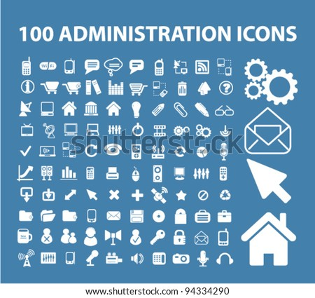 100 administration icons, vector