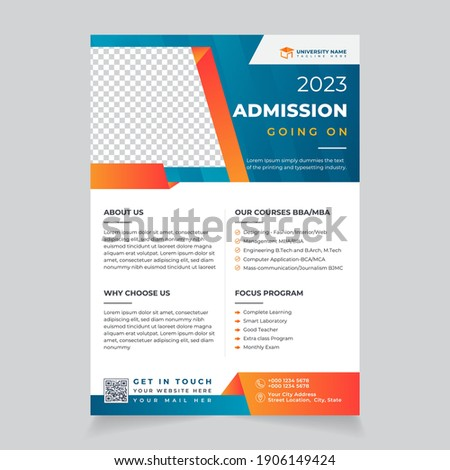 Admission Open vector Flyer Design layout for School, college, and university study. editable print ready education poster brochure a4 template Kids back to school going on. Сток-фото ©
