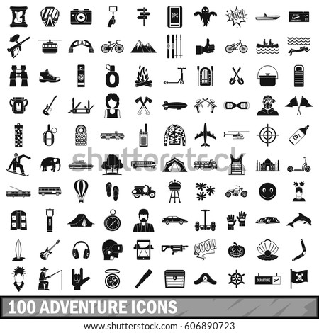100 adventure icons set in