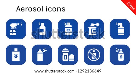 aerosol icon set. 10 filled aerosol icons. Simple modern icons about  - Spray, Spray bottle, Deodorant, Aerosol, Paint spray