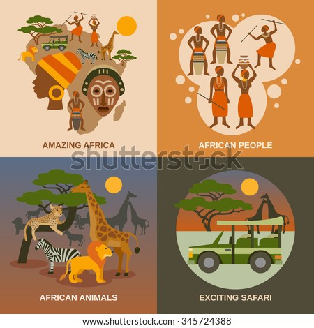 africa concept icons set with