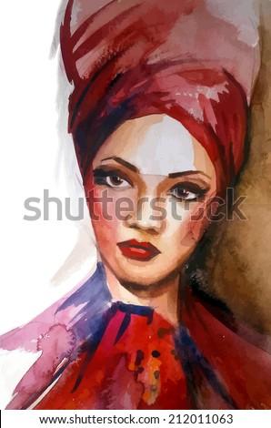 African american woman.Watercolor vector.