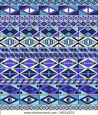 African-tribal-art seamless pattern of different colors