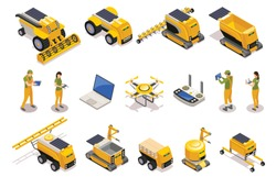Agricultural isometric icons set of remotely controlled robots used for plowing cultivation harvesting isolated vector illustration