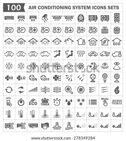 100 air conditioning icons sets