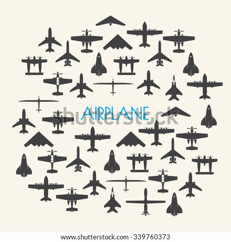 airplane icons set and