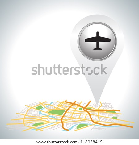 airplane pointer icon on map.