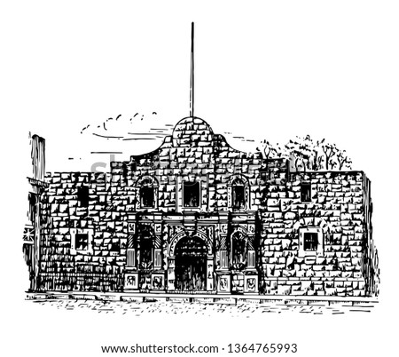 Alamo was founded in Florida in 1974 where battle of Alamo took place during Texas revolution vintage line drawing.