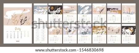 2020 сalendar design.  Nature, ecology. Monthly calender 2020, 2021. Set of 12 months. Week starts on Monday. Editable calendar page template A4, A3. Vertical. Abstract artistic vector illustration.