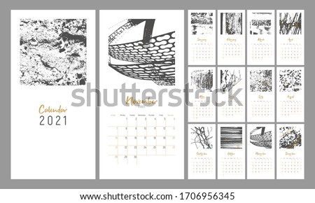 2021 сalendar design. Set of 12 months. Week starts on Sunday. Monthly Wall Calendar 2021. Editable calender page template with ruled blocks allocated for each day. Abstract artistic vector drawings.