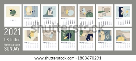 2021 сalendar design. Set of 12 months. Week starts on Sunday. Monthly Wall Calendar 2021. US Letter format. Editable calender page template. Abstract vector illustrations. Pastel colors.