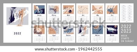 2022 сalendar design. Week starts on Sunday. 2022, 2023. Calendar design. Editable calender page template A4, A3. Vertical. Abstract artistic vector illustrations. Pastel background. Set of 12 months.