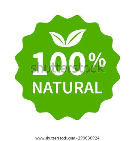 100% all natural stamp, label, sticker or seal flat icon for products and websites