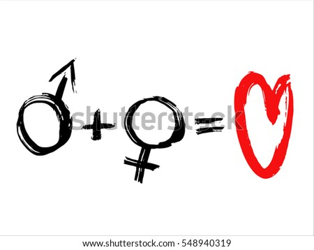 ?alligraphy brush stroke design of male and female sign.Card for St. Valentine's Day
