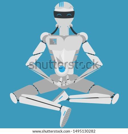 alm modern robot in meditation