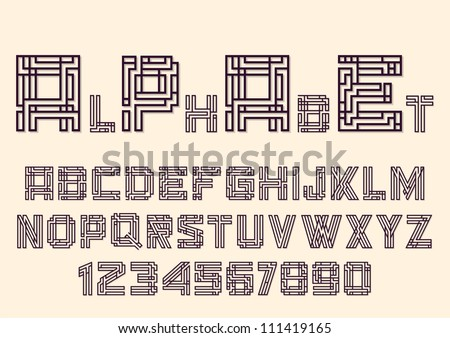Alphabet letters and numbers in Mayan style. Vector eps10