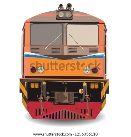 alstom Diesel Electric locomotive  vector,Train in thailand vector on white background