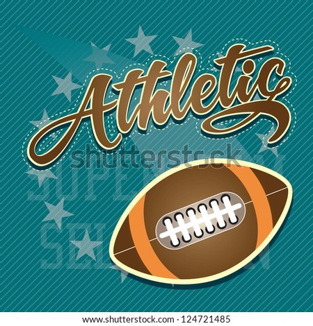 American Football Athletic team, on blue background. Vector Illustration. - stock vector