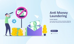 AML concept, anti money laundering , stop corruption and illegal business,  Suitable for web landing page, ui, mobile app, banner template. Vector Illustration.
