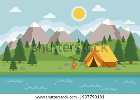 Сamping landscape. Countryside nature. Tent. Tourism - expedition, travel, explore. Outdoor recreation. Vector illustration.  Stock foto ©