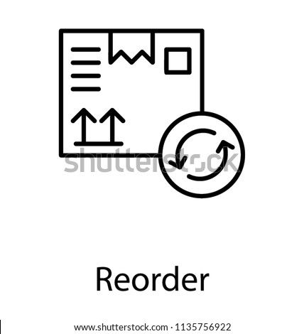 An icon with dispatched package and oppositely directing arrows showing process of reorder