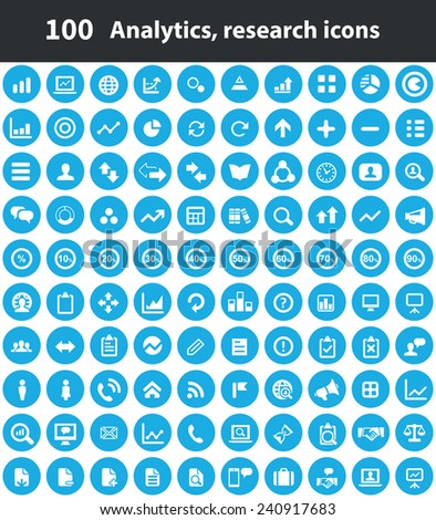 100 analytics, research icons, blue circle background