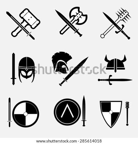 Ancient warrior icon set . VECTOR illustration.