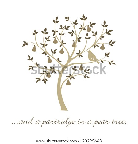 """""""...and a partridge in a pear tree"""" Christmas card in vector format."""