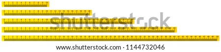 10, 20, 30, 40 and 50cm yellow school measure ruler. metric measurement.