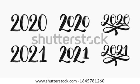 2020 and 2021 text logo set. Hand sketched numbers of new year. 2021 set of inscriptions. New year 2021 lettering set. Vector template for cards, prints, t-shirts, invitations, labels. Vector EPS 10