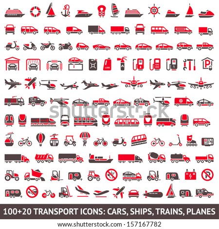 100 AND 20 Transport icon red and gray
