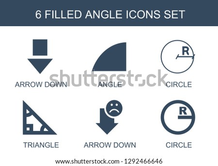 6 angle icons. Trendy angle icons white background. Included filled icons such as arrow down, circle, triangle. angle icon for web and mobile.