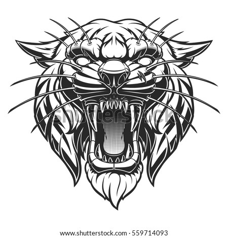 angry tiger face monochrome