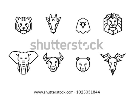 8 animal heads icons. Vector geometric illustrations of wild life animals.