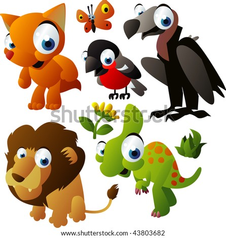 2010 animal set: fox, vulture, bullfinch, dinosaur, lion