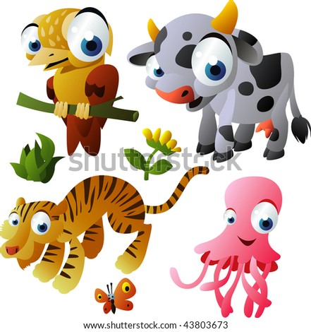2010 animal set: xenops, cow, tiger, jelly fish